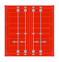 Red shipping container front view vector
