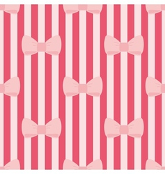 Seamless pattern with tile pink bows red stripes vector image