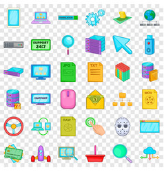 Searching icons set cartoon style vector