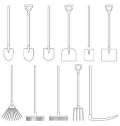 set contours garden tools vector image