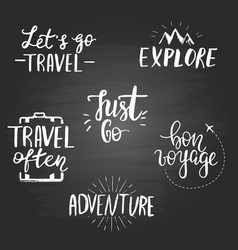 Set inspirational travel quotes on the vector