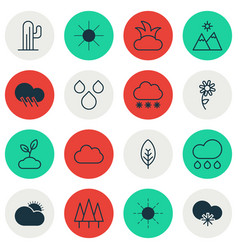 Set of 16 nature icons includes plant forest vector
