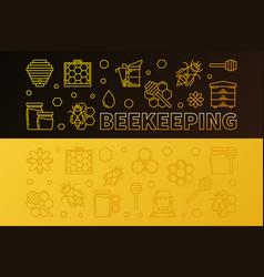 set of 2 beekeeping outline colored vector image