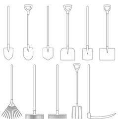 set of contours of garden tools vector image