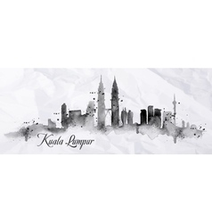 Silhouette ink Kuala Lumpur vector image