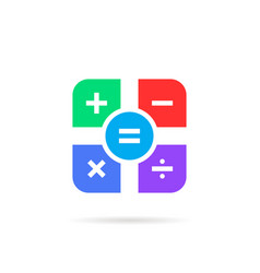 simple color math icon with shadow vector image