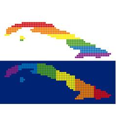spectrum pixel dotted cuba map vector image