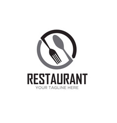 Spoon and fork circle restaurant logo designs vector