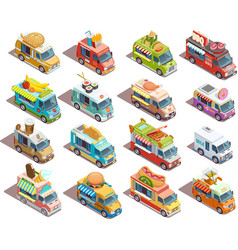 Street Food Trucks Isometric Icons Collection vector