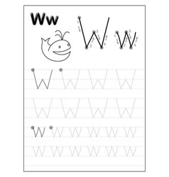 Tracing alphabet letter w black and white vector