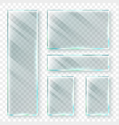transparent glass banners 3d window glass vector image