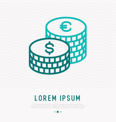 two stacks dollar and euro coins thin line icon vector image