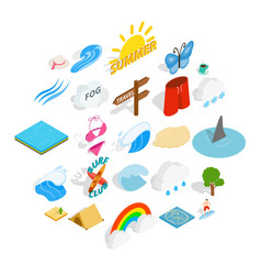 Water recreation icons set isometric style vector