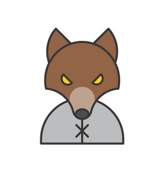 werewolf halloween related icon outline design vector image