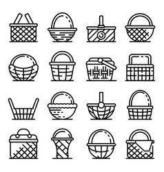Wicker icons set outline style vector
