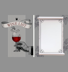 wine list with hand holding a wineglass and old vector image