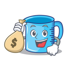 With money bag measuring cup character cartoon vector
