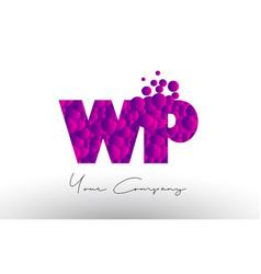 Wp w p dots letter logo with purple bubbles vector