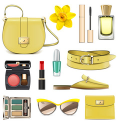 Yellow fashion accessories vector