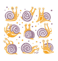Yellow snail with purple shell different poses set vector
