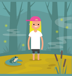 Young female character stuck in swamp flat vector