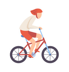 young man in helmet riding bicycle cycling guy vector image