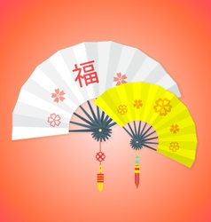 flat style chinese new year fans vector image