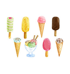 ice cream set with watercolor summer dessert vector image vector image