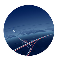 night traffic and roads round icon vector image