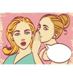 Two young beautiful women talking about something vector image vector image