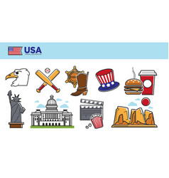 usa travel destination promotional poster with vector image