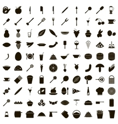 100 food icons set simple style vector image vector image