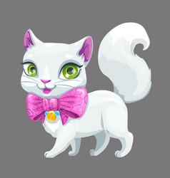 cute cartoon fluffy white cat icon vector image
