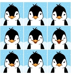 Cute penguin cartoon emotion faces vector image