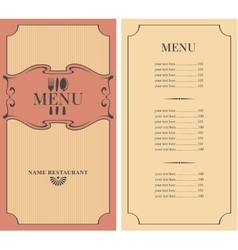 menu with price vector image vector image