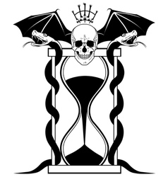 sandglass and skull vector image vector image