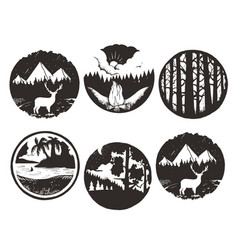 set of wilderness hand drawn black emblems vector image vector image