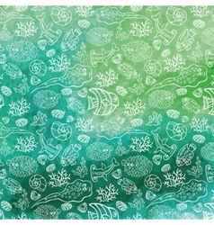 Summer backgroundFunny Sea Lifewatercolor stein vector image vector image