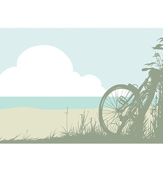 Summer landscape with a bicycle vector image