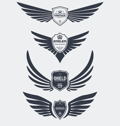 Wings and shields set vector image vector image
