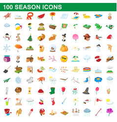 100 seasons icons set cartoon style vector image vector image