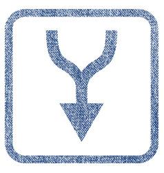 Combine arrow down fabric textured icon vector
