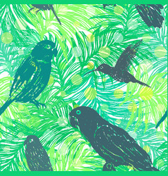 ink hand drawn jungle seamless pattern with birds vector image