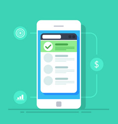 list on the screen of a mobile phone flat vector image vector image
