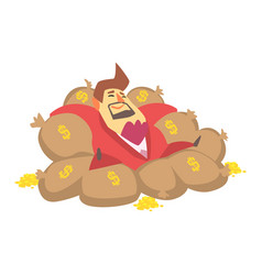 millionaire rich man laying on money bags filled vector image vector image