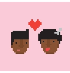 Pixel art style afro american couple in love vector image