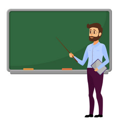 young teacher standing in front of blank school vector image