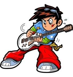 Anime Manga Guitar Player vector image