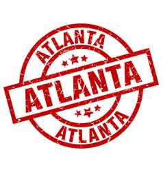 atlanta red round grunge stamp vector image vector image