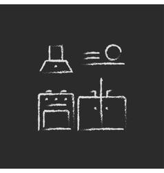 Kitchen interior icon drawn in chalk vector image vector image
